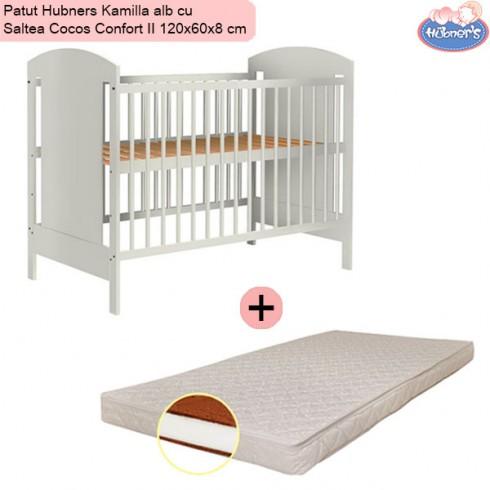 Pachet Patut Hubners Kamilla alb cu Saltea Cocos Confort II 120x60x8 cm