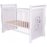 Patut copii din lemn Babyneeds Jas Ursulet 120x60 cm alb