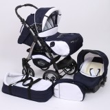 Carucior Baby Merc Junior Plus 3 in 1 Navy blue white