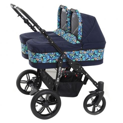 Carucior gemeni PJ Baby PJ Stroller 3 in 1 lovely blue leaves
